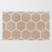 hexagon Area & Throw Rugs featuring natural hexagon by her art
