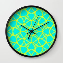 Turquoise yellow background Wall Clock