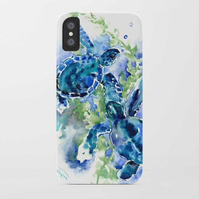 Sea Turtle Turquoise Blue Beach Underwater Scene Green Blue design iPhone Case