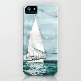 Sailboat painting on turquoise waters stormy skies iPhone Case