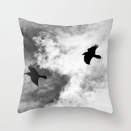 Raven in the Clouds Throw Pillow