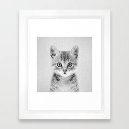 Kitten - Black & White Framed Art Print
