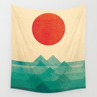 wall clock Wall Tapestries featuring The ocean, the sea, the wave by Picomodi