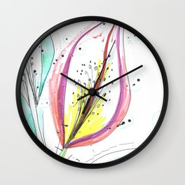 Ink and color flower Wall Clock