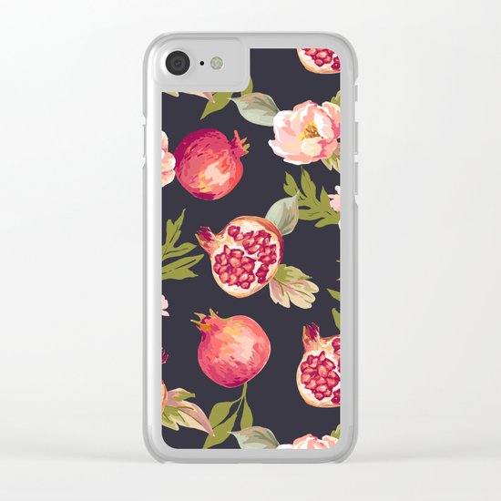 Pomegranate patterns - floral roses fruit nature elegant pattern Clear iPhone Case
