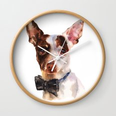 Chihuahua, dog painting, puppy prints, bow tie, watercolor Wall Clock