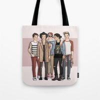 one direction Tote Bags featuring One Direction by vulcains