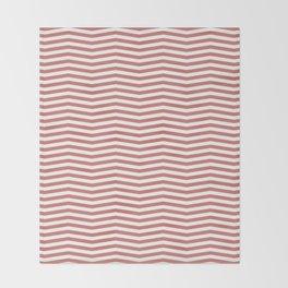 Camellia Pink and White Thin Chevron Stripe Throw Blanket