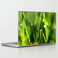 pagan Laptop & iPad Skins featuring Dew on grass at early backlight by UtArt