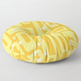 Retro Mid Century Modern Abstract Pattern 127 Yellow Floor Pillow