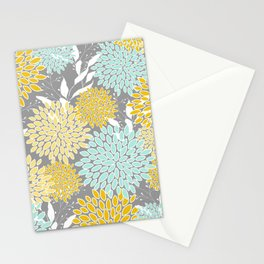 Floral Prints and Leaves, Gray, Yellow and Aqua Stationery Cards