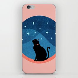 Abstraction_CAT_NIGHT_SKY_STARS_Minimalism_001 iPhone Skin
