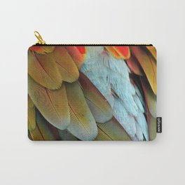 Green and Red Macaw Feathers Carry-All Pouch