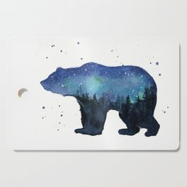 Forest Bear Silhouette Watercolor Galaxy Cutting Board