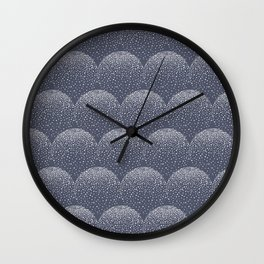 White and blue scalloped dots geometric pattern Wall Clock