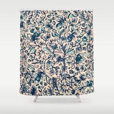 Teal Garden - floral doodle pattern in cream & navy blue Shower Curtain