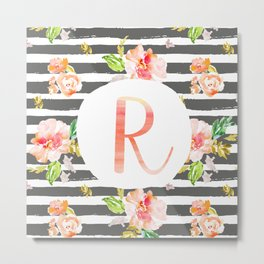 R botanical monogram. Letter initial with colorful flowers and gray stripes Metal Print