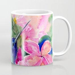 Hummingbird and Plumeria Florwers Tropical bright colored foliage floral Hawaiian Flowers Coffee Mug