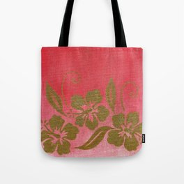Gold Hibiscuses on Pink Tote Bag