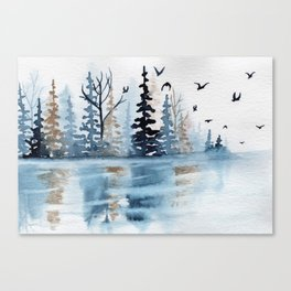 """""""Gold & Indigo Forest"""" watercolor painting Canvas Print"""