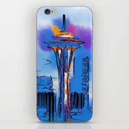 The Space Needle In Soft Abstract iPhone Skin
