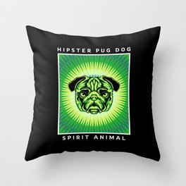 Hipster Pug Dog Sprit Animal Throw Pillow