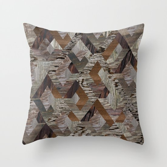 Wood Quilt Throw Pillow