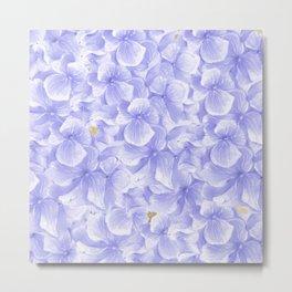 Elegant lavender white faux gold watercolor hydrangea flowers Metal Print