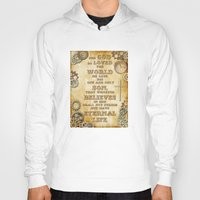 bible verse Hoodies featuring Steampunk Bible Verse For God So Loved the World by Whimsy and Nonsense