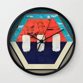 Stitch in Time - hexagon graphic Wall Clock