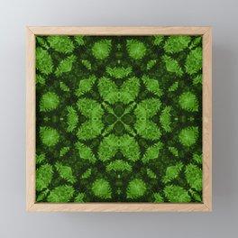 Fresh forest green kaleidoscope mandala Framed Mini Art Print