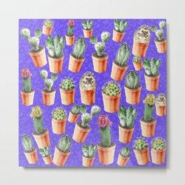Cactus pattern watercolor Metal Print