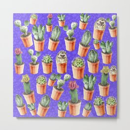 Cactus pattern watercolor Metal Print