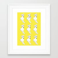 puppies Framed Art Prints featuring whippet puppies  by Emese M