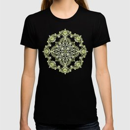Pale Lemon Yellow Lace Mandala on Grey T-shirt
