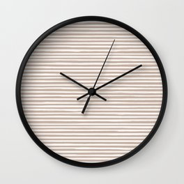 Skinny Stroke Horizontal Off White on Nude Wall Clock