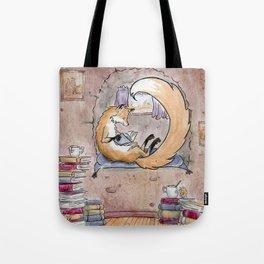 Fox Reading Tote Bag