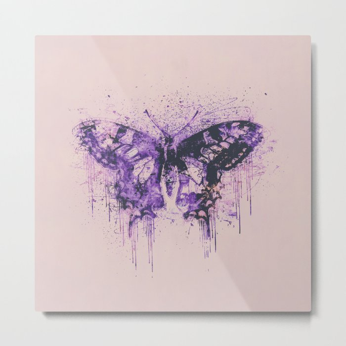 Artsy Butterfly Mixed Media Art  pastel pink and purple Metal Print
