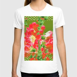 Moss Green Red Orange Holly Hocks Pattern  Color Floral Art T-shirt