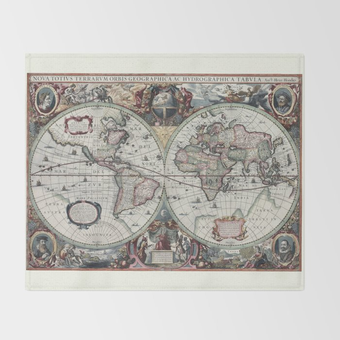 Antique world map 1630 throw blanket by hipster society6 antique world map 1630 throw blanket gumiabroncs Choice Image