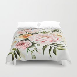 Loose Peonies & Poppies Floral Bouquet Duvet Cover