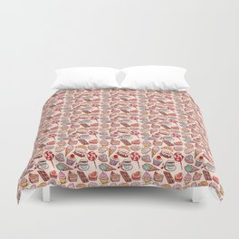 Hand drawn confectionery croissant Cupcake candy ice cream cake donut and coffee Duvet Cover