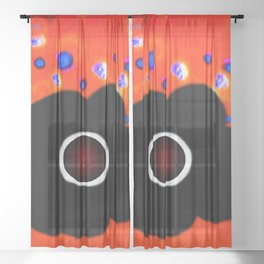 Hole and black flower Sheer Curtain