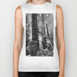 Old Growth Forest Light Black and White Biker Tank