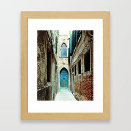 Venice Italy Turquoise Blue Door Framed Art Print