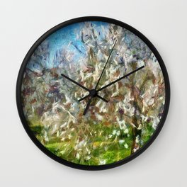 Almond Orchard Blossom Wall Clock