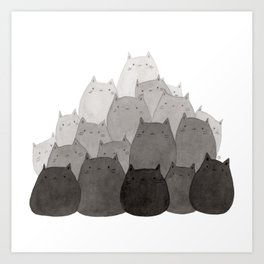 Kitty Pile Art Print