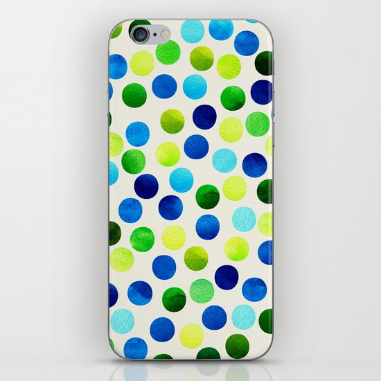 Watercolor Dots_Aqua by Jacqueline and Garima iPhone & iPod Skin