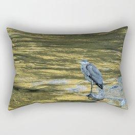 Great Blue Heron on a Golden River Rectangular Pillow