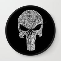 punisher Wall Clocks featuring Punisher  by christoph_loves_drawing